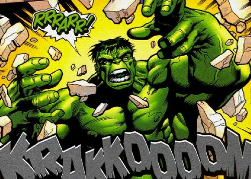 THE HULK - RRRAARR - CRACK EFFECT canvas print - self adhesive poster - photo print